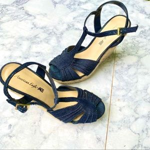 American eagle strappy espadrille  denim shoes 8